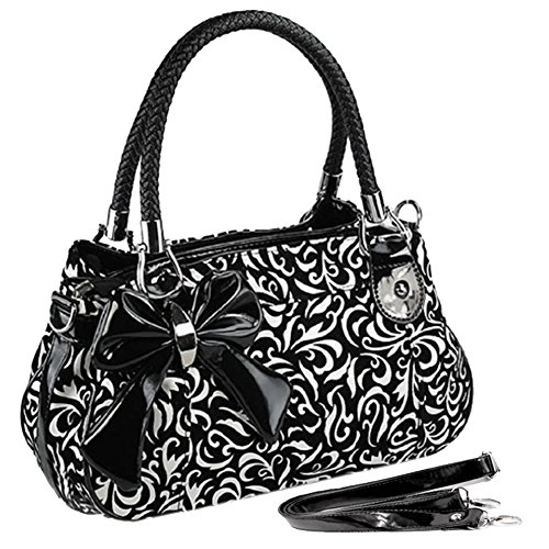 MG Collection Tweed Floral Bow Accent Design Shoulder Bag, Black, One Size MG Collection B004R7YAIA