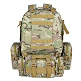TTLIFE Backpack Large Tactical Outdoor Trekking Rucksacks Military Bag for Hiking Camping Mountain Climbing Combined with 3 MOLLE Bags (CP) (Color: Cp)