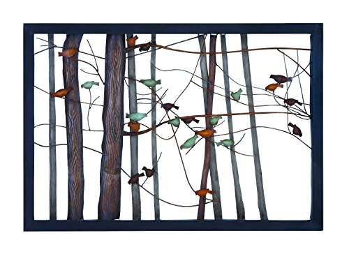 Benzara 93744 Classic Metal Wall Decor With Intricate Bird And Tree Motifs front-671900