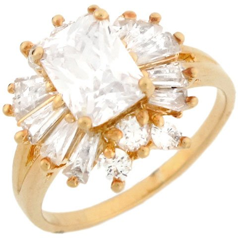 9ct Yellow Gold Beautiful Rectangle CZ Cluster Engagement Ring