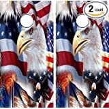 Avery C73 American Flag Eagle CORNHOLE LAMINATED DECAL WRAP SET Decals Board Boards Vinyl Sticker Stickers Bean Bag Game Wraps Vinyl Graphic Tint Image Corn Hole