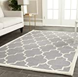 Safavieh Cambridge Collection CAM134D Handmade Moroccan Geometric Silver and Ivory Premium Wool Area Rug (8' x 10')