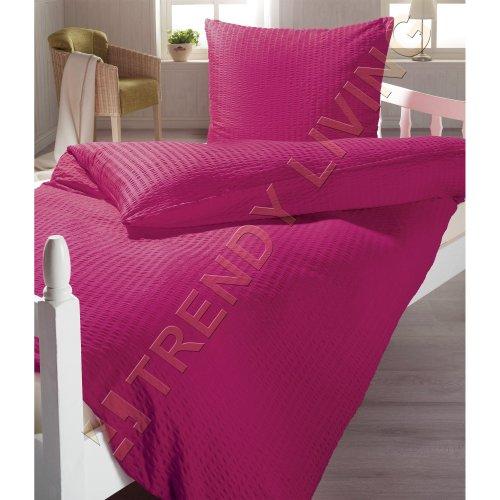 Seersucker Mikrofaser Bettwäsche in violett mit Reißverschluss   135x200   Bettgarnitur