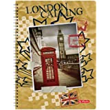 Herlitz Spiralblock, A4, kariert mit 2 Rändern, City Trips, 5-er Pack, Motiv London
