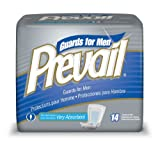 Prevail For Men Male Guards, Very Absorbent, 14 Pads (Pack of 9)