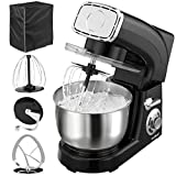 VonShef Stand Mixer, 5.5 Litre, Powerful, Black, Free 2 Year Warranty - Silicone Beater, Balloon Whisk, Dough Hook, Dust Cover & Splash Guard