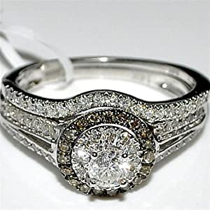 Wedding Set 0.75ct 14K White Gold Cognac diamond halo with round solitaire center