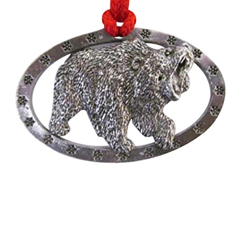Pewter ~ Grizzly Bear ~ Oval ~ Holiday Ornament ~ M035OR