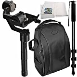 """Zhiyun-Tech Crane v2 3-Axis Handheld Gimbal Stabilizer 4PC Bundle – Includes Deluxe Backpack + 72"""" Monopod with Quick Release + Microfiber Cleaning Cloth"""
