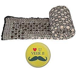 Little India Sanganeri Handblock Print Cotton Single Bed Quilt - Beige (DLI3SRZ106)