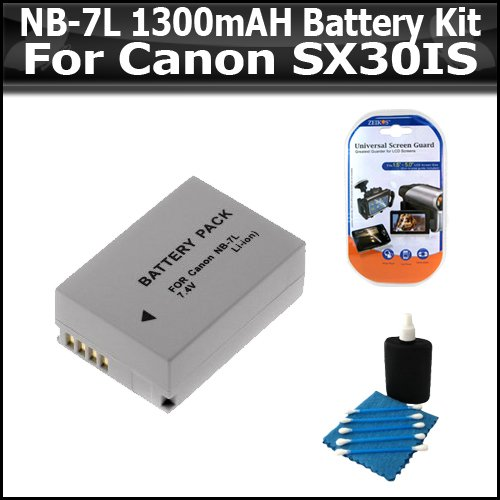 Battery Kit For The Canon SX30IS SX30 IS Digital Camera Includes Extended Replacement NB-7L (1300 mAH) Battery + Clear LCD Screen Protectors + Lens Cleaning Kit