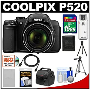 Nikon Coolpix P520 GPS Digital Camera (Black) with 16GB Card + Battery + Case + Tripods + HDMI Cable + Accessory Kit