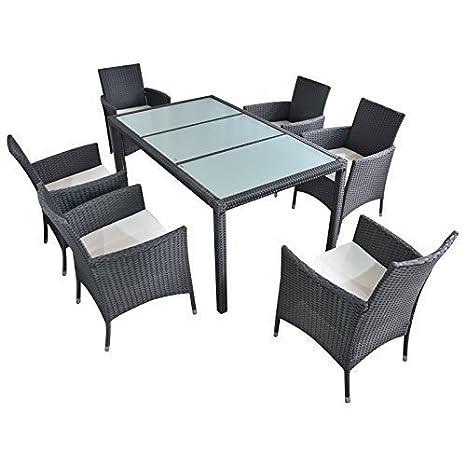 Polyrattan Gartenmöbel Essgruppe Esstisch mit 6 Sessel