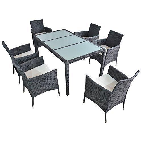 polyrattan gartenm bel essgruppe esstisch mit 6 sessel. Black Bedroom Furniture Sets. Home Design Ideas