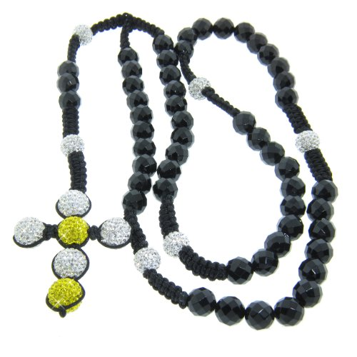 10mm Faceted Onyx Gemstone with 12mm Yellow and White Czech Crystal Rosary Necklace
