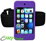 CrazyOnDigital Accessories Purple Silicone Skin Case with Armband for New Apple iPod Touch 4G and 5G