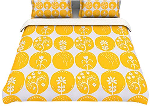 "Kess Inhouse Anneline Sophia ""Dotty Papercut Yellow"" Circles Gray 104 By 88-Inch Cotton Duvet Cover, King"