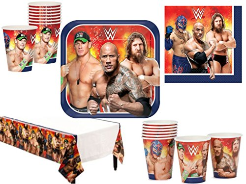 WWE Deluxe Party Supply Pack for 16 Guests featuring The Rock, John Cena, Rey Mysterio, and Daniel Bryan. (Wwe Supplies compare prices)