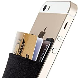 Sinjimoru Sinji Pouch 3 Removable 3M Tape Adhesive Card Leather Pocket Case Back Cover Protective Skin for iPhone 5 5S 5C Galaxy S3 S4 S5 Note Ipad 3 4 mini LG G2 G3 Sony Xperia HTC One m8 (Black)