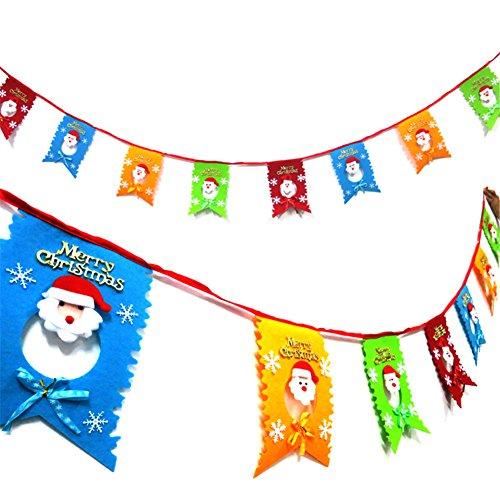 Natale Santa Claus Non tessuto appeso bandiere Bunting Banner ornamenti Home camera decorazione