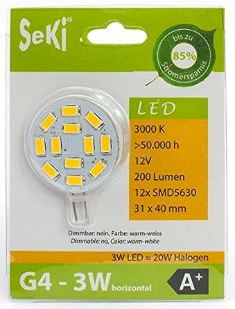 seki g4 led lampe 3 watt a horizontal warmwei 3000 kelvin ersetzt 25w de58. Black Bedroom Furniture Sets. Home Design Ideas