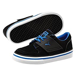 PUMA EL Ace 2 Nubuck Kids Sneaker (Infant/Toddler/Little Kid) , Black/Strong Blue, 5 M US Toddler