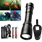 Odepro WD43 Diving Flashlight 1000 lumens Waterproof Underwater 200M Tail Magnetic Switch Scuba Diving Four Modes Underlight Torch, Diving Backup light