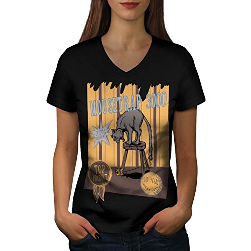 mouse-trap-cat-bait-cheese-lure-women-new-black-m-v-neck-t-shirt-wellcoda