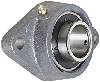 Boston Gear ST Series Standard-Duty Mounted Ball Bearing Flange Unit, 2 Bolt Holes, Setscrew Lock, Regreasable, Contact and Flinger Seals, Cast Iron
