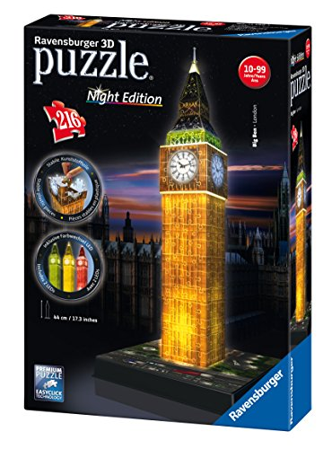 Ravensburger 12588 - Big Ben Night Edition Puzzle 3D Building con LED