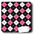 3dRose LLC 8 x 8 x 0.25 Inches Mouse Pad, Argyle Design Pink/Black/White (mp_12118_1)