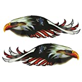 2 Pcs Adhesive Multicolor PVC Plastic Graphic Eagle Decal Sticker Decor