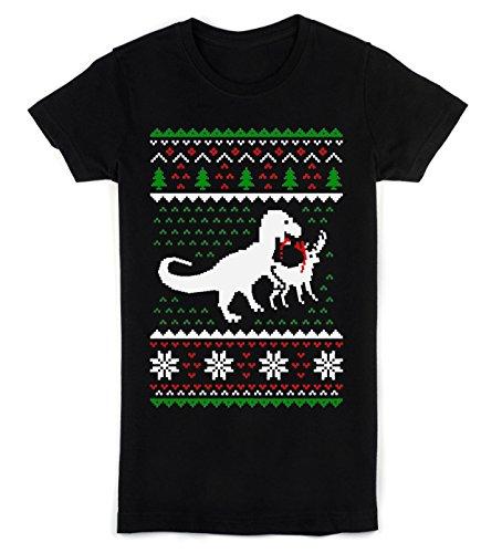 T-Rex Eating A Reindeer Ugly Christmas Design Women's T-Shirt Medium