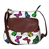 #2: Snoogg Colorful Butterflies Casual Spacious MultiPurpose Sling Bag Carry Around