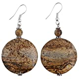 Handmade Brown Zebra Jasper Dangle Earrings With Antiqued Silver Beads