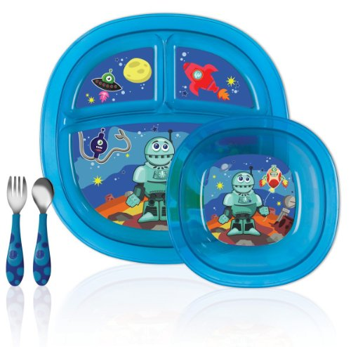 Munchkin Toddler Feeding 5-Piece Set For Boys (Blue/Robot Design) With Cup front-633341