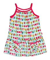 Zutano Girls 2-6x Print Puff Pocket Dress,Owls,2T