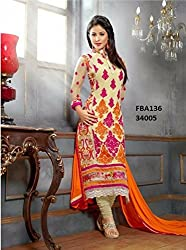 Shree Khodal Women's Orange Georgette Dress Material [SK_JCN1008_A]