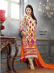 Shree Khodal Women's Orange Georgette Dress Material [SK_JCN1008_D]