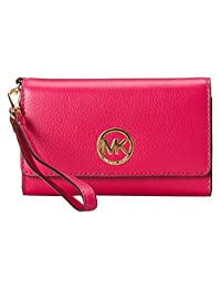 Michael Michael Kors Fulton Large Multifunction Wristlet Fuchsia/gold New