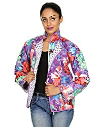 Rajrang Womens Cotton Jacket -Purple, White -Medium
