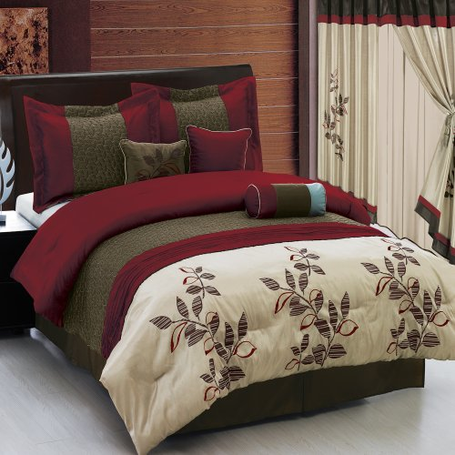 Pasadena Burgundy Queen Size Luxury 11 Piece Comforter Set Includes Comforter, Sheets, Skirt, Throw Pillows, Pillow Shams By Royal Hotel back-564650