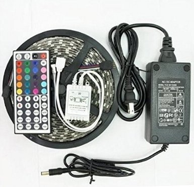 GenLed 16.4ft 5M Waterproof Flexible strip 300leds Color Changing RGB SMD5050 LED Light Strip Kit RGB 5M +44Key Remote+12V 5A Power Supply (Lightning Cable 30 Feet compare prices)
