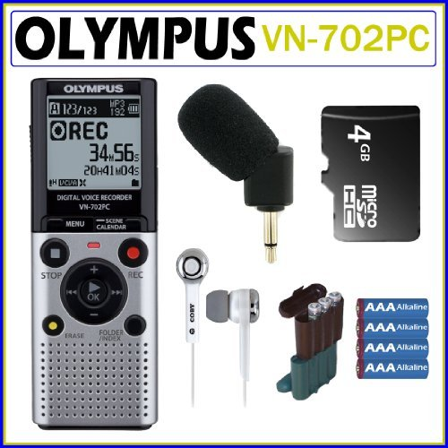 Olympus VN-702PC 2GB Digital Voice Recorder + Olympus Microphone + 4GB Micro SDHC + Earbud Headphones + 4 AAA Batteries + Battery Case