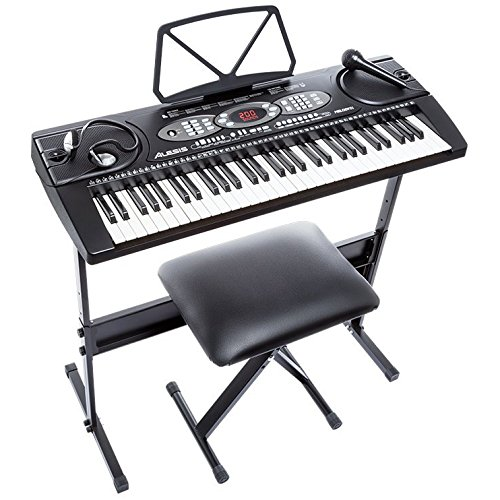 Alesis Melody 61 Beginner Bundle | 61-Key Portable Keyboard with Stand, Bench, Headphones, and Microphone (Kids Piano With Bench compare prices)