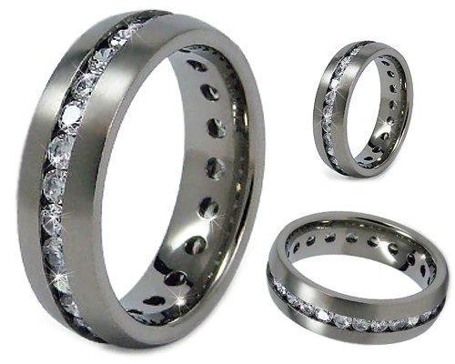 7mm s matte finish titanium eternity band wedding band