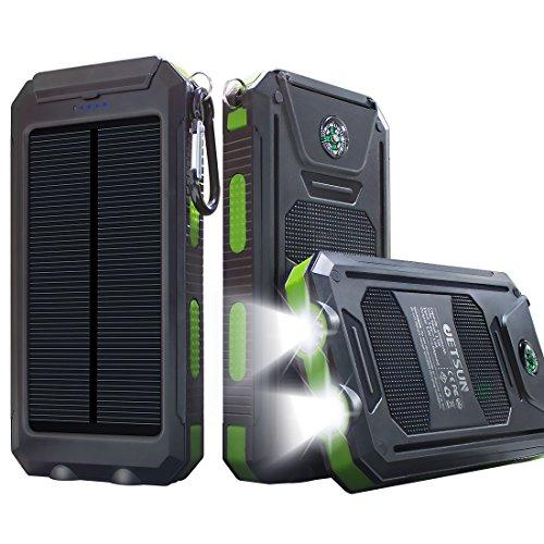 JETSUN 10000mAh 大容量ソーラーチャージャー モバイルバッテリー 2USBポート 羅針盤が付き 防水設計 二つの充電方法 旅行、キャンプの良品 iPhone / iPad / Nexus等対応 (ブラック)