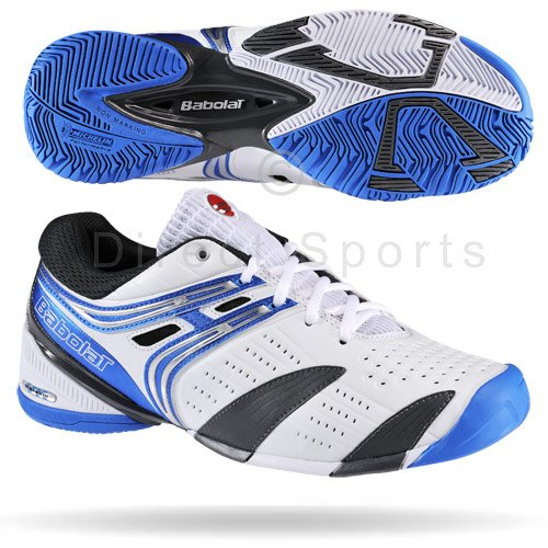 BABOLAT V-Pro All Court Men's Tennis Shoes, White/Black/Blue, UK11