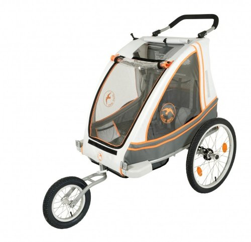 Blue Bird Jogger Zweisitzer Dual Stahl , gefedert , Wei Orange Grau, 2-in-1 Kin