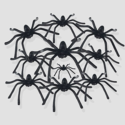 30pcs Halloween Decorations Plastic Spiders Haunted House Prop Fake Spiders Decor Black